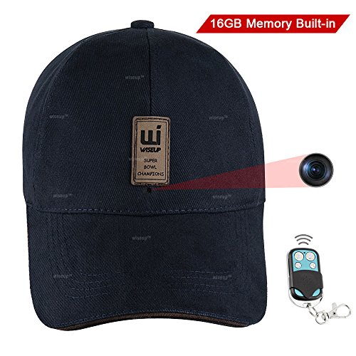 WISEUP 16GB 1920x1080P HD Hidden Camera Hat Video Recorde...