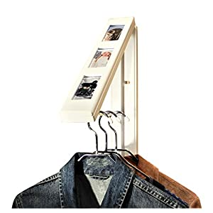 "The Original InstaHANGER Model AH12PF/M WT White ""Picture Perfect"" – Folding Collapsible Wall Mounted Clothes Storage/Drying Rack"