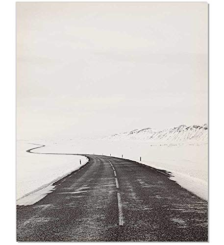Black and White Photography, Winter Photography, Scandinavian Art, Minimalist Photography, Nordic Art, Nordic Print, Road Print, Minimalist Art, Winter Art Print, Modern Print, Black Wall Decor, 8x10