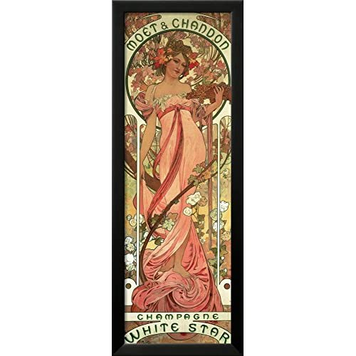 Art.com Poster Advertising 'Moet and Chandon White Star' Champagne, 1899 by Alphonse Mucha Framed Giclee Print, 36 x...
