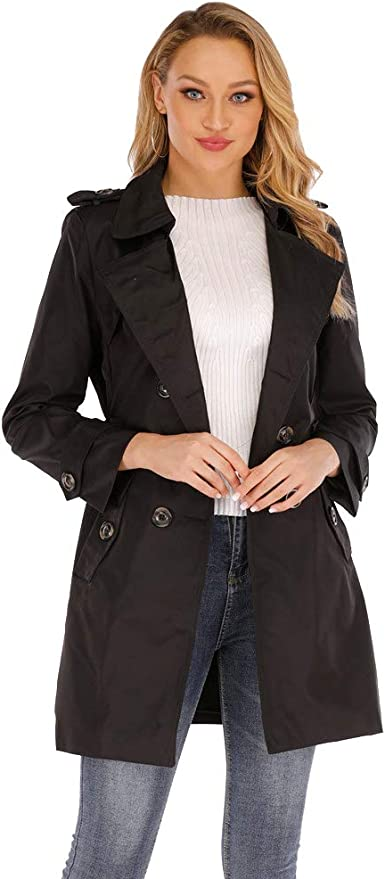 Amazon Com Women S Classic Spring Fall Fashion Slim Fit Lapel Mid Length British Double Breasted Trench Coat With Belt Clothing Leopard print women vogue trench coat autumn long lapel belt korean jackets slim. amazon com