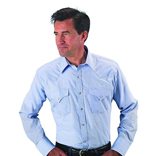 - ELY CATTLEMAN Men's Dobby Solid Western Dress Shirt Light Blue Medium