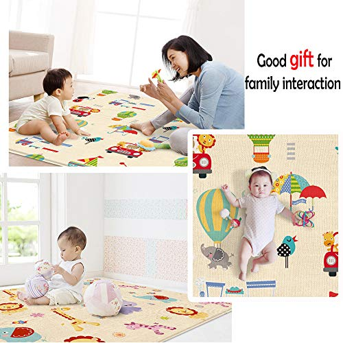 Eoeth Kid's Puzzle Exercise Play Mat Folding Play Large Reversible Crawling Mat Portable Double-Sided Toddlers Kids Waterproof Non-Slip Activity Tummy Time(Shipped by US)