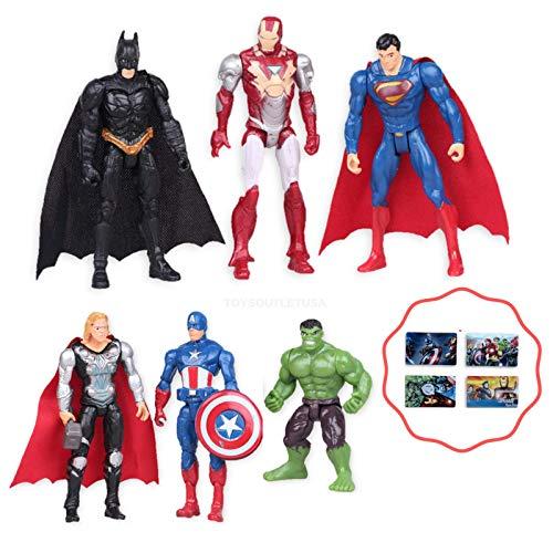 (Avengers 6PCS Toy Play Figures Set | Cake Topper | Bonus Sticker Included ToysoutletUSA)