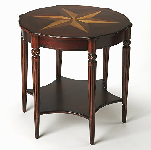 Accent Furniture - Haverford Inlaid Accent Table - Cherry Finish - Marquetry Table