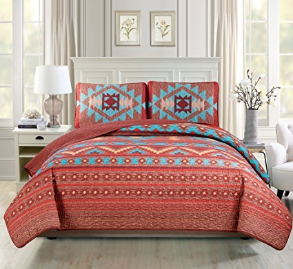 Western Southwestern Native American Tribal Navajo Design 3 Piece Multicolor Turquoise red Orange Brown Oversize King / California King Bedspread Quilt Coverlet Set (118