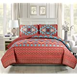 """Western Southwestern Native American Tribal Navajo Design 3 Piece Multicolor Turquoise red Orange Brown Oversize King / California King Bedspread Quilt Coverlet Set (118""""X95"""")"""