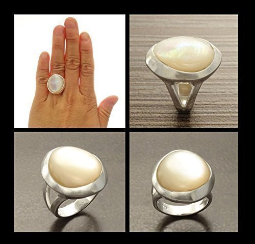 Sterling Silver 925 Unique ring White Mop Ring design Pearl Ring pearl jewelry Statement ring round pearl ring