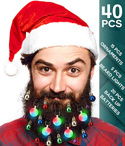40pcs Christmas Beard Lights Ornaments Glitter Kit 2019 with Jewelry Baubles Beads, Bells, Light Up Bulbs, Best Gifts for Men Women Kids Hair Decoration, Funny Ugly Xmas Sweater Party Accessories