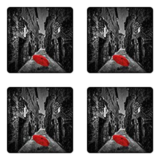 Ambesonne Black and White Coaster Set of 4, Red Umbrella on a Dark Narrow Street in Tuscany Italy Rainy Winter, Square Hardboard Gloss Coasters for Drinks, Standard Size, Light Brown (B076BH7CXV) | Amazon price tracker / tracking, Amazon price history charts, Amazon price watches, Amazon price drop alerts
