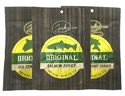 All Natural Fish Jerky Sampler - TESTER 3 PACK - Tuna Jerky, Trout Jerky and Salmon Jerky - The Best Fish Jerky on the Market - No Added Preservatives, No Added Nitrates, No MSG - 6 total oz.