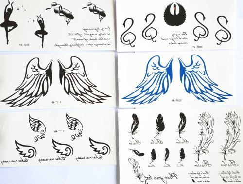 GGSELL GGSELL fashion design hot selling temporary tattoo stickers combination 6pcs/package different designs, it includes Ballet shoes/ballet dancer/swan/angel wings/feather/etc. by GGSELL Temporary (Swan Dancer)
