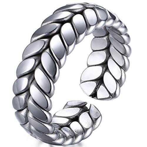 (Platinum Mens Womens Wedding Simple Adjustable Bands Titanium steel Opening Promise Rings Comfort Fit Size)