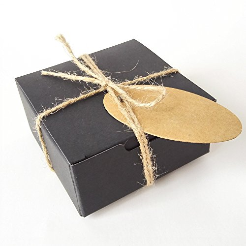 Gold-Furtune 50PCS Square Gift Wrapping Kraft Paper Box With Tags & Hemp Rope Paper Soap Box (Black Box With Brown Hemp Rope) by Gold Fortune
