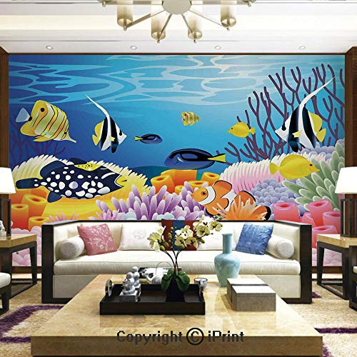- Lionpapa_mural Artistic Background Removable Wall Mural Self-Adhesive,Water Life with Different Kind of Fishes Coral Reefs and Sponges Kids Nursery Theme,Home Decor - 100x144 inches