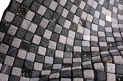Dark Grey and Light Grey Luxury Square Pebble Stone with Stainless Steel Mosaic Tiles for Bathroom and Kitchen Walls Kitchen Backsplashes (Free Shipping)