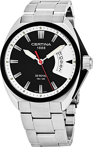 Certina DS Royal Mens 42MM Black Face with Date Luminous Watch - Swiss Made Analog Quartz Black PVD Stainless Steel Luxury Watch For Men C010.410.11.051.00