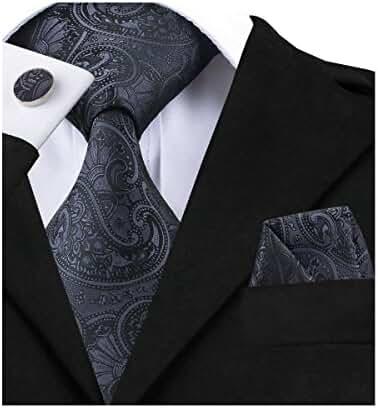 Hi-Tie Solid Black Tie Set Hanky Cufflinks Business Funeral Necktie