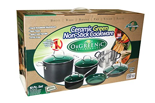 Orgreenic Ceramic Coated Non Stick Cookware Set 10 Piece