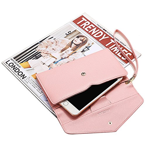 Krosslon Travel Passport Wallet for Women Rfid Wristlet Slim Family Document Holder, 205 Pastel Pink by KROSSLON (Image #3)