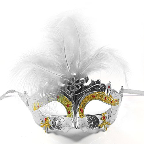 C&L Women's Halloween Feather Topped Masquerade Mask (Silver) -