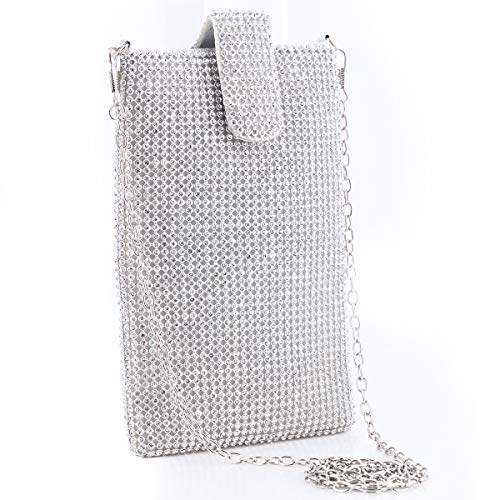 Evening Handbags Clutch Purses for Women Crystal Rhinestone Small Crossbody Bag Cell Phone Purse Wallet in Silver