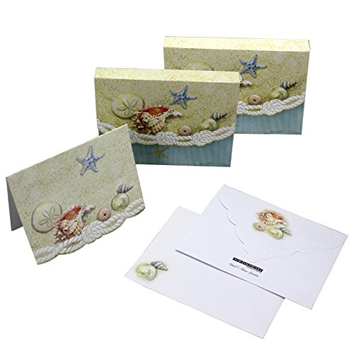 Mini Portfolio Embossed (Sea Shells Starfish Sand Dollars Embossed Set of 8 Blank Note Cards, Envelopes, and Mini Portfolio Pouch, Designed by Carol Wilson (Two (2) Sets))
