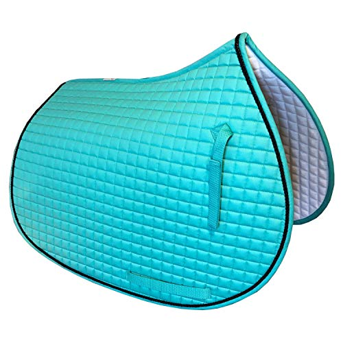 PRI Pacific Rim International All-Purpose English Saddle Pads for Horses (Mint Green w/#7 Black Accent Rope Cord) ()
