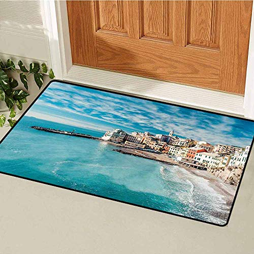 Gloria Johnson Italy Front Door mat Carpet Panorama of Old Italian Fishing Village Beach in Old Province Coastal Charm Image Machine Washable Door mat W31.5 x L47.2 Inch Turquoise