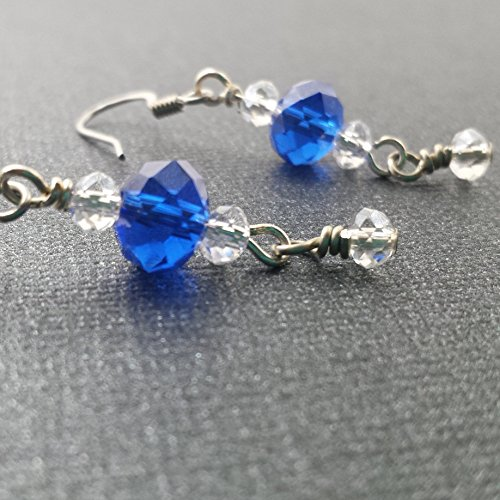 Sapphire Blue and Clear Rondelle Crystal Drop (Handwrapped Crystal)