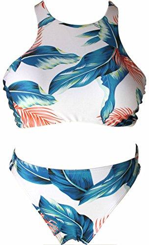 I VVEEL Mujer Dos piezas de manga larga/cuello alto Halter triángulo/Boyshorts Traje de baño Beachwear Verde