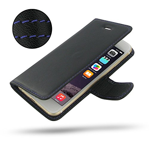 "Apple iPhone 6 (4.7"") Deluxe Leather Case / Cover Protective Carrying Phone Case / Cover (Handmade Genuine Leather) - Book Case (Black/Purple stitchings) by Pdair"