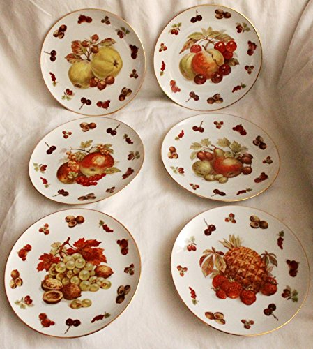 Set of 6 German Winterling Bavaria 124 Fruit & Nuts Pattern Plates
