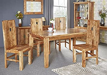 Acacia Solid Wood With Real Slate Inlay Large Dining Table Set With - Dining table with slate inlay