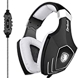 New Arrival SADES A60 USB Gaming Headset Computer Over Ear Stereo Heaphones With Microphone Noise Isolating Volume Control LED Light (Black+White) For PC & MAC Review