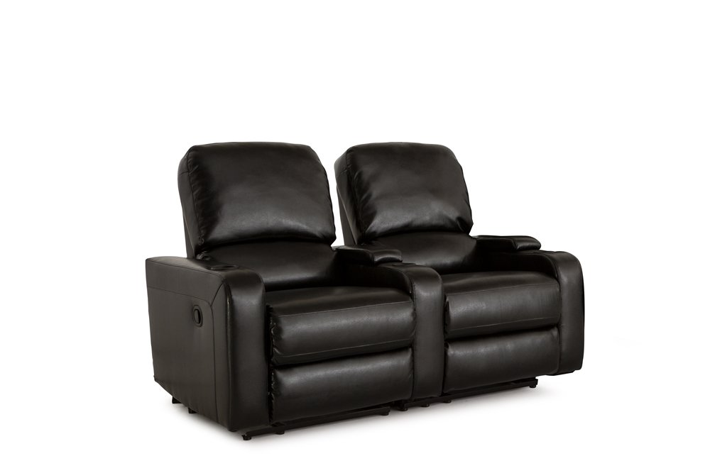 Klaussner Twilight Home Theater Seating Manual Reclinable Bonded Leather Row of 2 with Storage and Cupholders Black