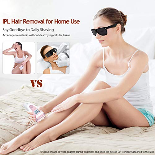 IPL Hair Removal System Device for Women - hooroor 500,000 Flashes Permanent Gentle Painless Facial Body Bikini Underarm Leg Professional Hair Remover Device Home Use
