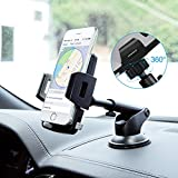 Car Phone Mount,Washable Strong Sticky Dashboard and Windshield Phone Mount Holder with One-Touch Design for Phone X/8/8Plus/7/7Plus/6s/6Plus/5S, Galaxy S5/S6/S7/S8, Nexus, LG and More