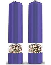 Grand Moulin À Poivre Moulin À Sel Poivre Et Sel 5 X 23cm Shaker Avec Ensemble De Lumière LED 2 x Violet