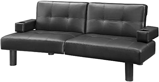 Mainstays Connectrix Futon, Multiple Colors a Contemporary style, split-back sofa-sleeper
