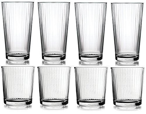 Circleware Spectrum Huge Set of 16 Drinking Glasses, 8-17oz and 8-13oz Double Old Fashioned Whiskey Glass by Circleware
