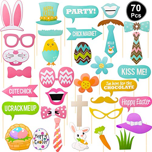 Jovitec 70 Pieces Easter Photo Booth Props Kit, for Easter Event Party Favors and Easter Decorations Rabbit Colorful Egg Bunny Easter Photographing Dress-up Accessories Gifts (70 Pieces, Easter) ()