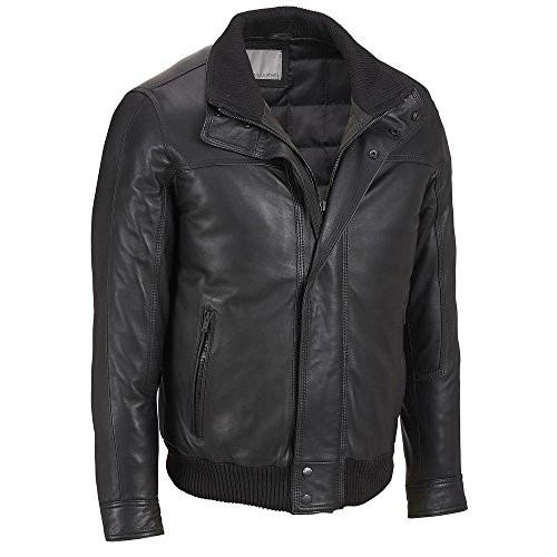 Double Collar Leather Bomber Jacket - 6