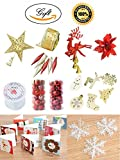 Lastia Christmas Tree Ornaments Assortment 11 Kinds of Accessories Red and Gold