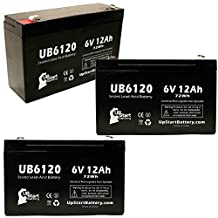 3x Pack - IMED PC2 GEMINI Battery - Replacement UB6120 Universal Sealed Lead Acid Battery (6V, 12Ah, 12000mAh, F1 Terminal, AGM, SLA) - Includes 6 F1 to F2 Terminal Adapters