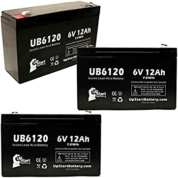 6V, 12Ah, 12000mAh, F1 Terminal, AGM, SLA Replacement for Interstate Batteries BSL0955 Battery Replacement UB6120 Universal Sealed Lead Acid Battery - Includes Two F1 to F2 Terminal Adapters