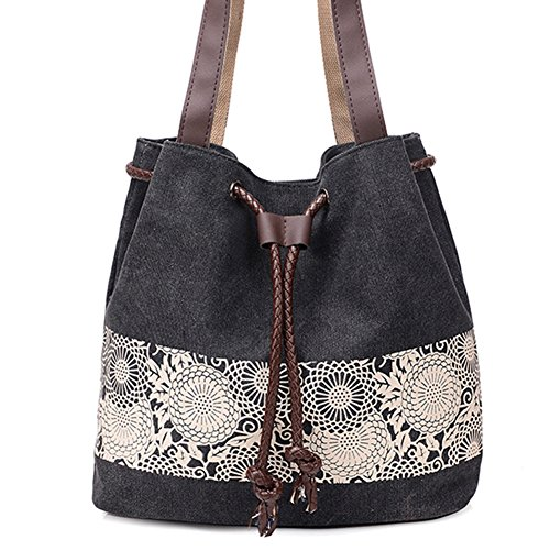 Womens Canvas Shoulder Tote Bag Retro Bucket Purse Drawstring Top Handle Bags (Black) (Handbag Tote Drawstring Print)