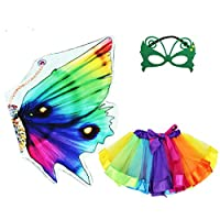 Rainbow Kids Butterfly Wings Costume for Girls Mask Tutu Halloween Dress Up Party (Rainbow)