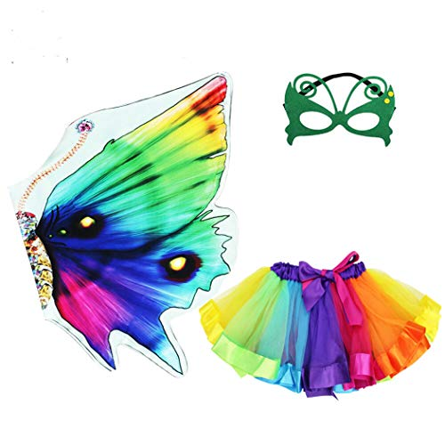 Rainbow Kids Butterfly Wings Costume for Girls Mask Tutu Halloween Dress Up Party (Rainbow) -