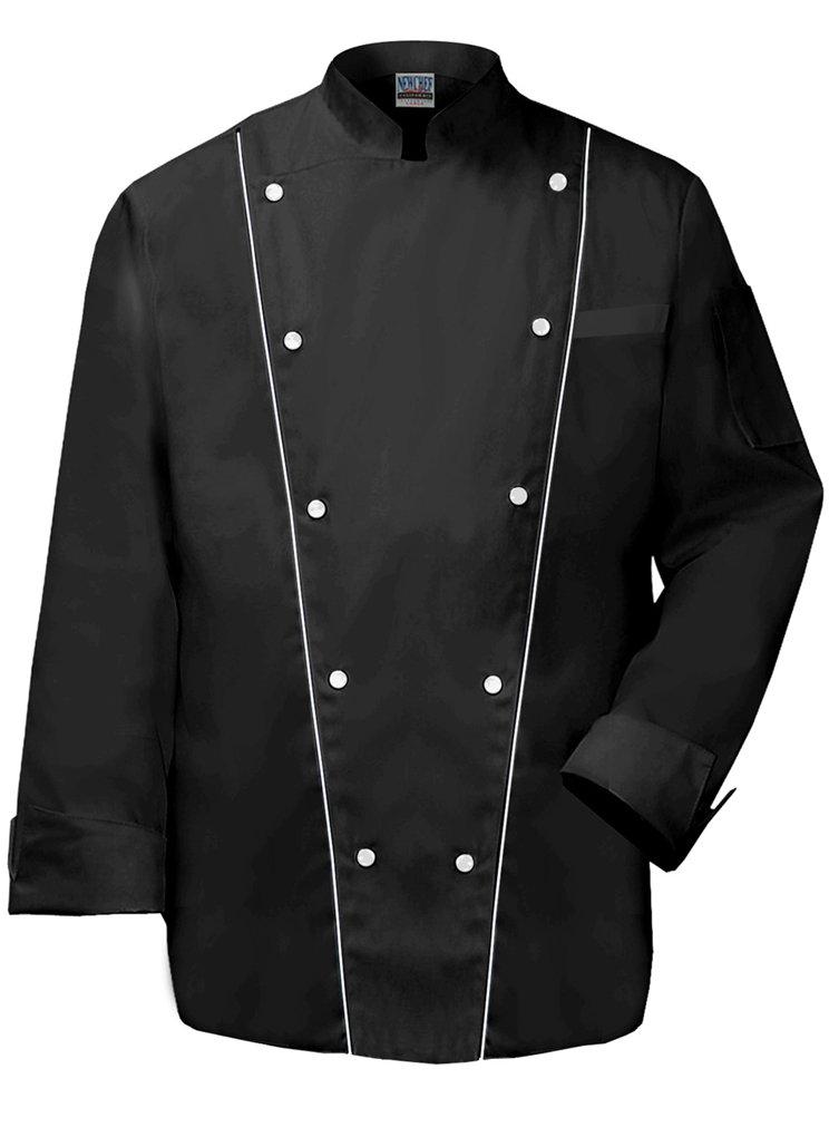 Newchef Fashion Royal Chef Coat Black Trim on Front Pannels L Black by Newchef Fashion
